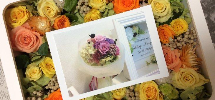 女性30代が好む大人可愛いお花で退職祝いに手作りフォトフレーム