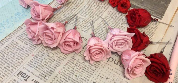 【ピンク x レッドは大人可愛い】手作りのプリザーブドフラワーアレンジメント