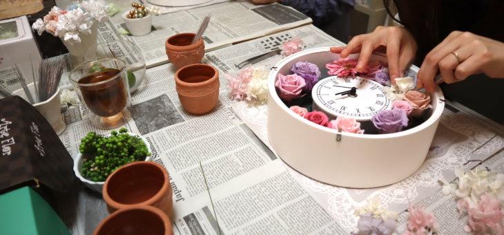 ジューンブライドで!結婚式での花束の代わり ご両親プレゼントに花時計を作られました