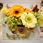 花の習い事 – 定期レッスンでひまわりようなガーベラを使って素敵なアレンジを作られました!