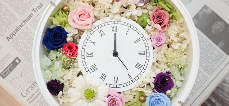 初任給でご両親へのプレゼントにキュートな花時計を作られました!