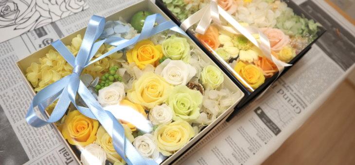 結婚式のご両親へのプレゼントに手作りの可愛いフラワーBOXを作られました