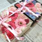 東京會舘で!結婚式のご両親へのプレゼントに2つの綺麗なフラワーボックスを作られました